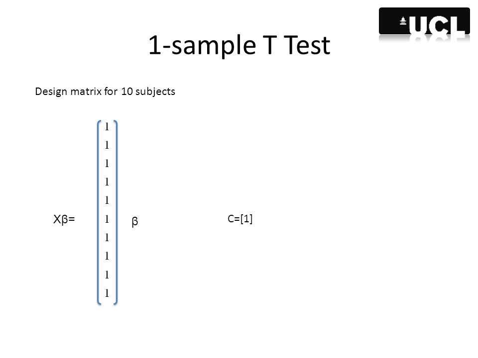 1-sample T Test Design matrix for 10 subjects Xβ= β C=[1]